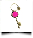 Enamel Skeleton Key Chain in Antique Bronze with Heart Accents - HOT PINK