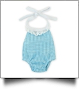 "Gingham Lace Halter Top Bubble Romper for 18"" Dolls - TURQUOISE - CLOSEOUT"