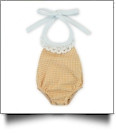 "Gingham Lace Halter Top Bubble Romper for 18"" Dolls - ORANGE - CLOSEOUT"