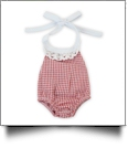 "Gingham Lace Halter Top Bubble Romper for 18"" Dolls - RED - CLOSEOUT"