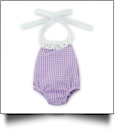 "Gingham Lace Halter Top Bubble Romper for 18"" Dolls - PURPLE - CLOSEOUT"
