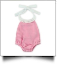 "Gingham Lace Halter Top Bubble Romper for 18"" Dolls - HOT PINK - CLOSEOUT"