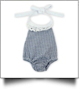 "Gingham Lace Halter Top Bubble Romper for 18"" Dolls - NAVY - CLOSEOUT"