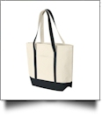Beach Tote Bag Embroidery Blanks - NATURAL/BLACK
