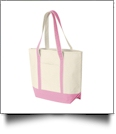 Beach Tote Bag Embroidery Blanks - NATURAL/FLAMINGO