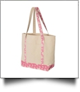 Beach Tote Bag Embroidery Blanks - NATURAL/FLAMINGO PRINT