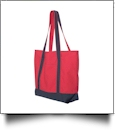 Beach Tote Bag Embroidery Blanks - RED/NAVY