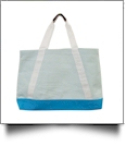 Oversized Seersucker Nautical Tote Bag Embroidery Blanks - AQUA - CLOSEOUT