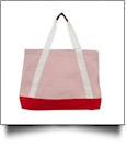 Oversized Seersucker Nautical Tote Bag Embroidery Blanks - RED - CLOSEOUT