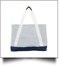 Oversized Seersucker Nautical Tote Bag Embroidery Blanks - NAVY - CLOSEOUT