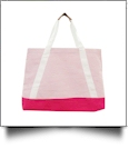 Oversized Seersucker Nautical Tote Bag Embroidery Blanks - PINK - CLOSEOUT