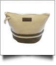 Canvas Rope Handle Cosmetic Bag Embroidery Blanks - BROWN