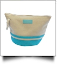Canvas Rope Handle Cosmetic Bag Embroidery Blanks - TROPICAL BLUE
