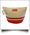 Canvas Rope Handle Cosmetic Bag Embroidery Blanks - RED
