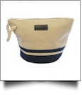 Canvas Rope Handle Cosmetic Bag Embroidery Blanks - NAVY