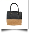 Luxurious Scalloped Faux Leather & Cork Purse - CORK/BLACK