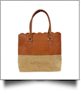 Luxurious Scalloped Faux Leather & Cork Purse - CORK/BROWN