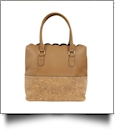 Luxurious Scalloped Faux Leather & Cork Purse - CORK/LIGHT BROWN