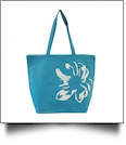 Tropical Flower Print Tote Bag Embroidery Blanks - BLUE