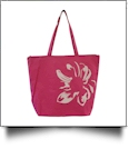 Tropical Flower Print Tote Bag Embroidery Blanks - HOT PINK