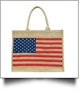 American Flag Jute Burlap Tote Bag Embroidery Blanks - CLOSEOUT