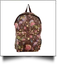Fancy Floral Print Backpack Embroidery Blanks - BROWN TRIM - CLOSEOUT