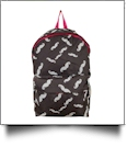Moustache Print Backpack Embroidery Blanks - HOT PINK TRIM - CLOSEOUT