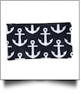Anchor Print Pencil Case Embroidery Blanks - BLACK TRIM - CLOSEOUT