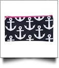 Anchor Print Pencil Case Embroidery Blanks - BLACK/HOT PINK TRIM - CLOSEOUT