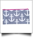 Anchor Print Pencil Case Embroidery Blanks - GRAY/HOT PINK TRIM - CLOSEOUT