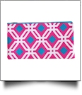 Graphic Print Pencil Case Embroidery Blanks - HOT PINK/TURQUOISE TRIM - CLOSEOUT