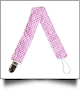 Gingham Plaid Pacifier Holder Clip - HOT PINK - CLOSEOUT