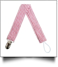 Gingham Plaid Pacifier Holder Clip - RED - CLOSEOUT