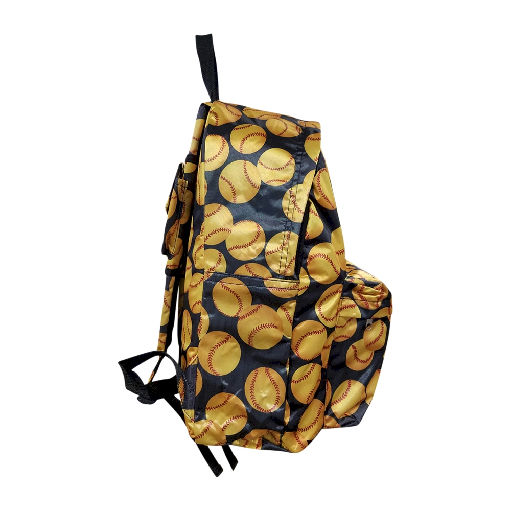 Softball Print Backpack Embroidery Blanks Black Trim Closeout