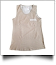 Gingham  Pocket Tank Top Embroidery Blanks - MOCHA - CLOSEOUT