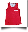Gingham  Pocket Tank Top Embroidery Blanks - RED/BLUE - CLOSEOUT