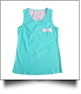 Gingham  Pocket Tank Top Embroidery Blanks - MINT