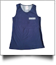 Gingham  Pocket Tank Top Embroidery Blanks - NAVY - CLOSEOUT