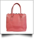 Luxurious Scalloped Faux Leather Purse - CORAL