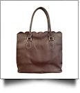 Luxurious Scalloped Faux Leather Purse - CHOCOLATE