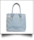 Luxurious Scalloped Faux Leather Purse - SKY BLUE