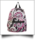 Paisley Print Mini-Backpack Embroidery Blanks - BLACK TRIM - CLOSEOUT