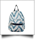 Chevron Ikat Print Mini-Backpack Embroidery Blanks - BLUE - CLOSEOUT