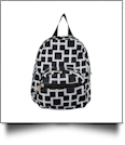 Squared Print Mini-Backpack Embroidery Blanks - BLACK - CLOSEOUT