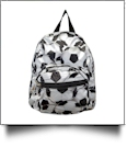 Soccer Print Mini-Backpack Embroidery Blanks - BLACK TRIM - CLOSEOUT