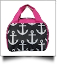 Anchor Print Lunch Bag Tote Embroidery Blanks -  BLACK/HOT PINK TRIM - CLOSEOUT