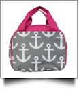 Anchor Print Lunch Bag Tote Embroidery Blanks -  GRAY/HOT PINK TRIM - CLOSEOUT