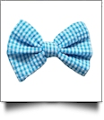 "3.5"" Gingham Hair Bow - TURQUOISE - CLOSEOUT"