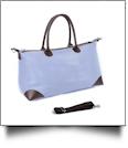 Luxurious Seersucker Weekender Bag - NAVY - IRREGULAR ZIPPER PULL