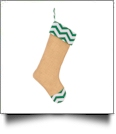 Blank Burlap Christmas Stocking - GREEN CHEVRON